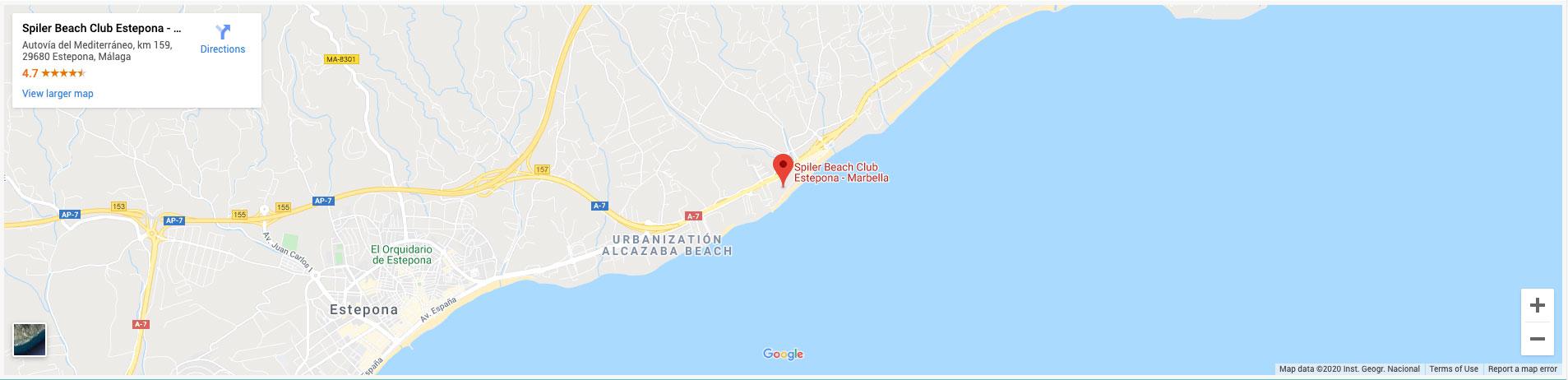 where is spiler beach club estepona marbella